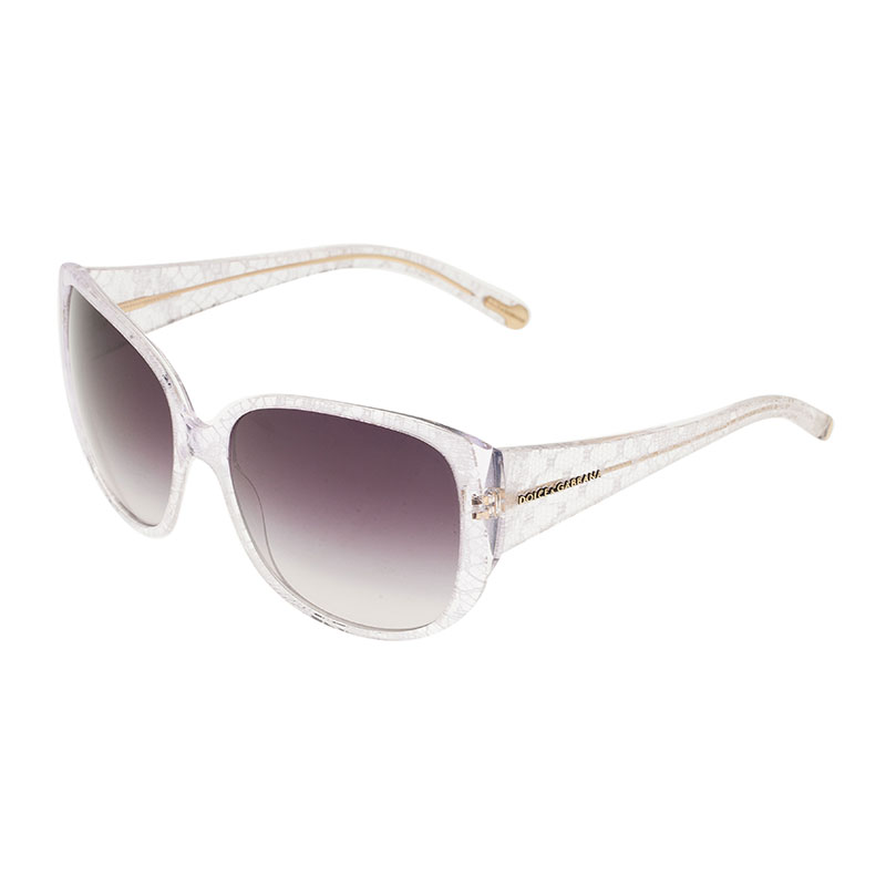 Dolce and Gabbana White Lace Print Sunglasses