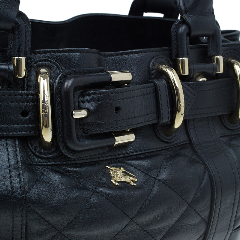 Burberry Black Leather Baby Beaton Tote Bag