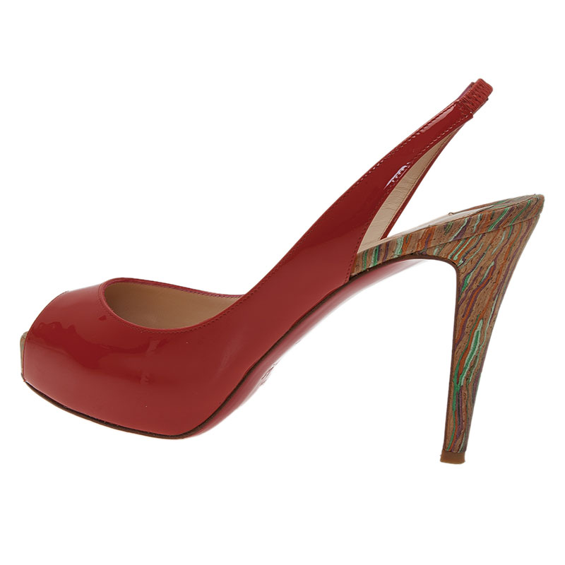 Christian Louboutin Red Patent So Private Peep Toe Slingback Sandals Size 38.5