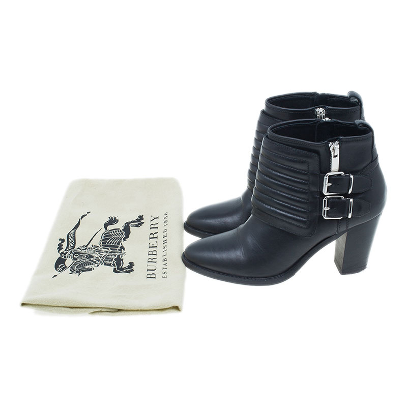 Burberry Black Leather Hirshel Moto Ankle Boots Size 38