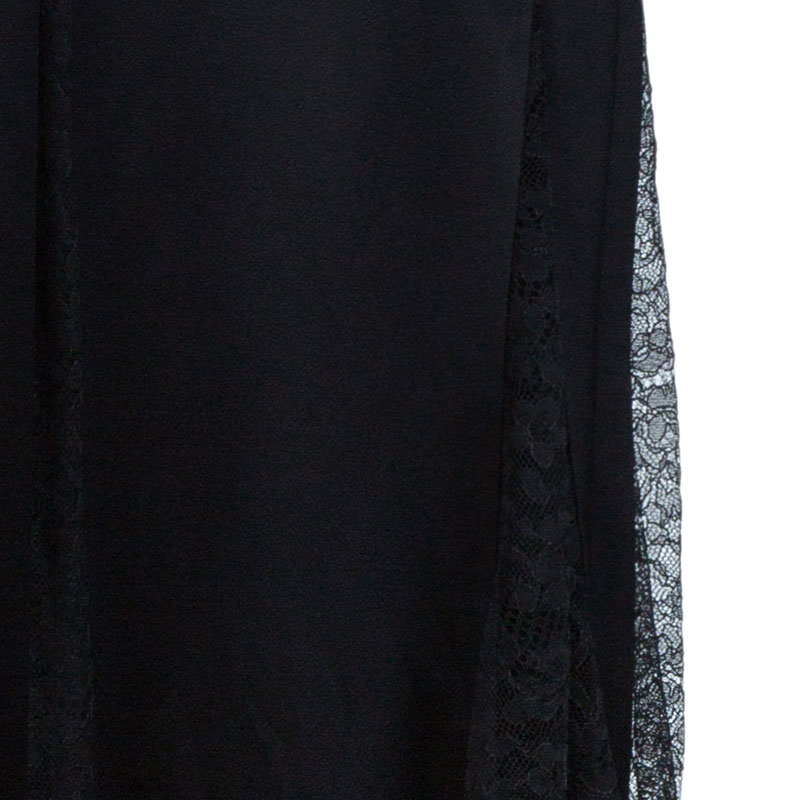 Michael Kors Black Lace Godet Maxi Skirt M