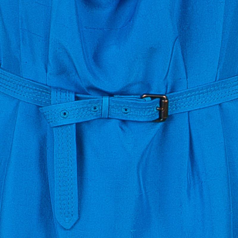 Bottega Veneta Blue Sleeveless Belted Dress S