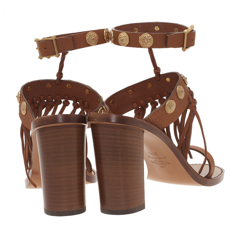 Valentino Brown Leather Fringed Coin Detail Sandals Size 38.5