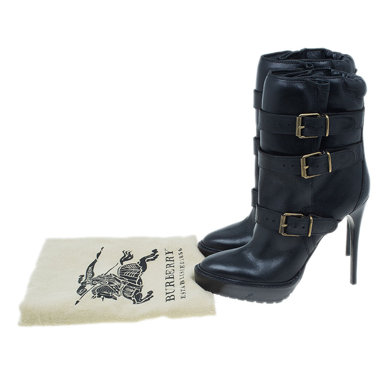 Burberry Black Leather Buckled Ankle Boots Size 40.5