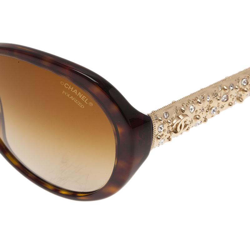 Chanel Tortoise Frame Bijoux Square Sunglasses