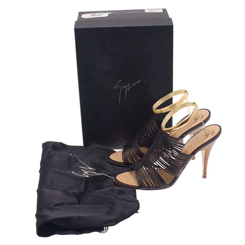 Giuseppe Zanotti Black Leather Caged Chain Strap Sandals Size 38.5