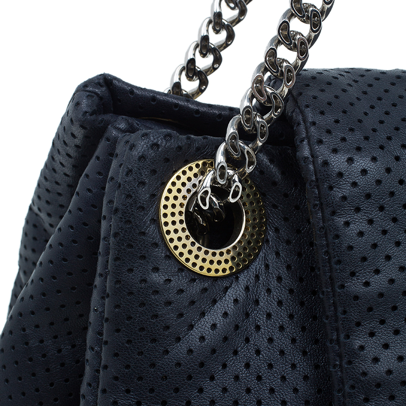 Chanel Black Drill Perforated Leather Large Classic Flap Accordion Bag