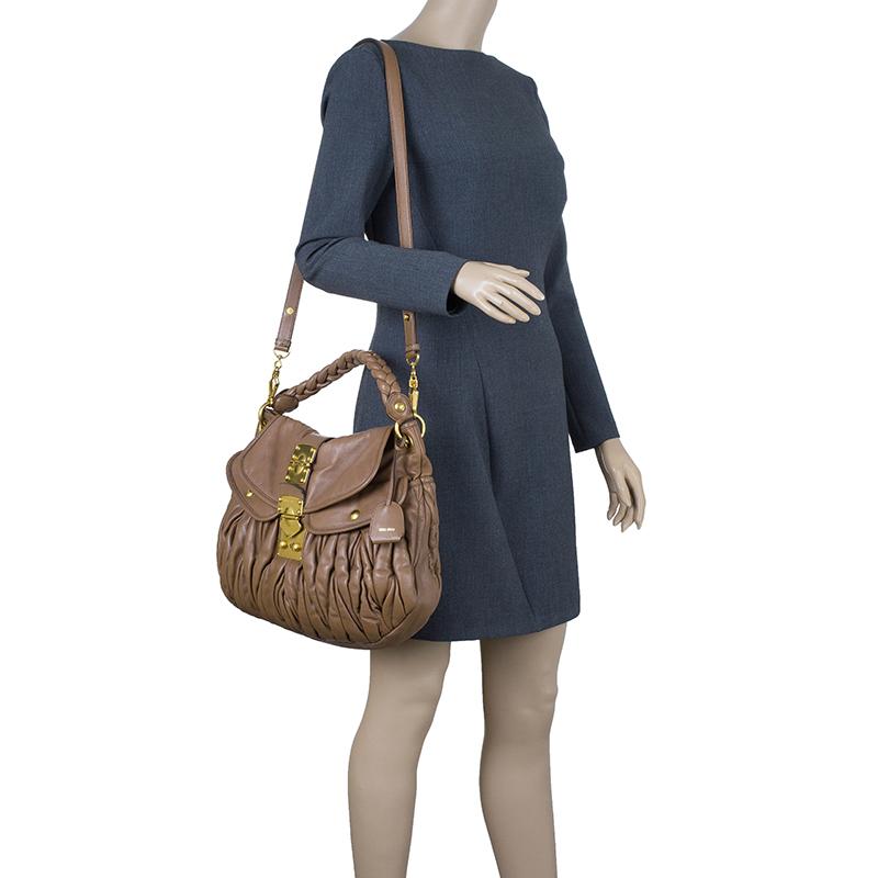 Miu Miu Brown Leather Matelasse Hobo Bag