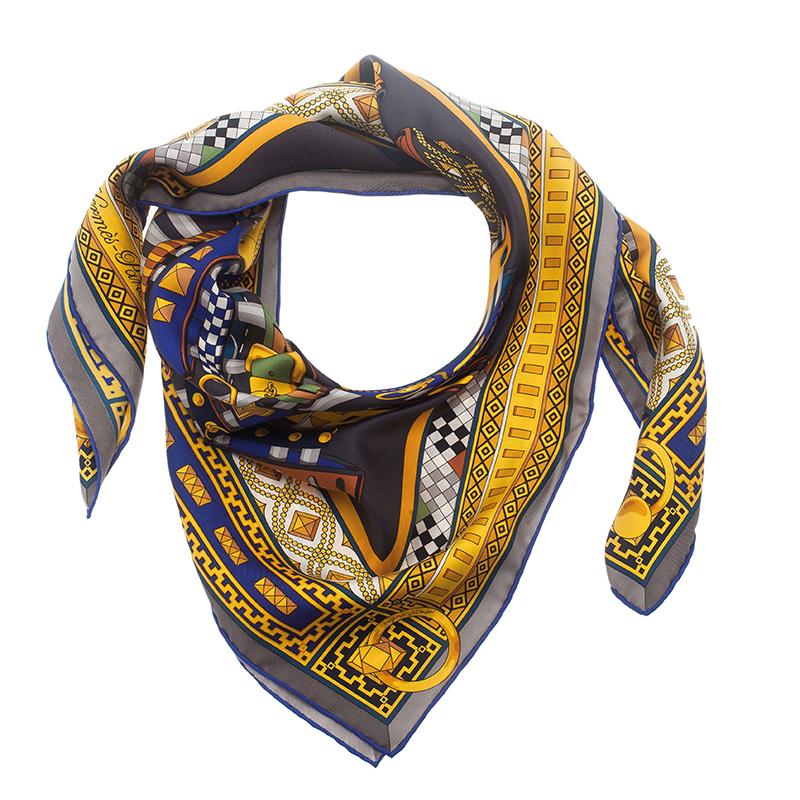 Hermes Blue Collar de Chiens Square Scarf