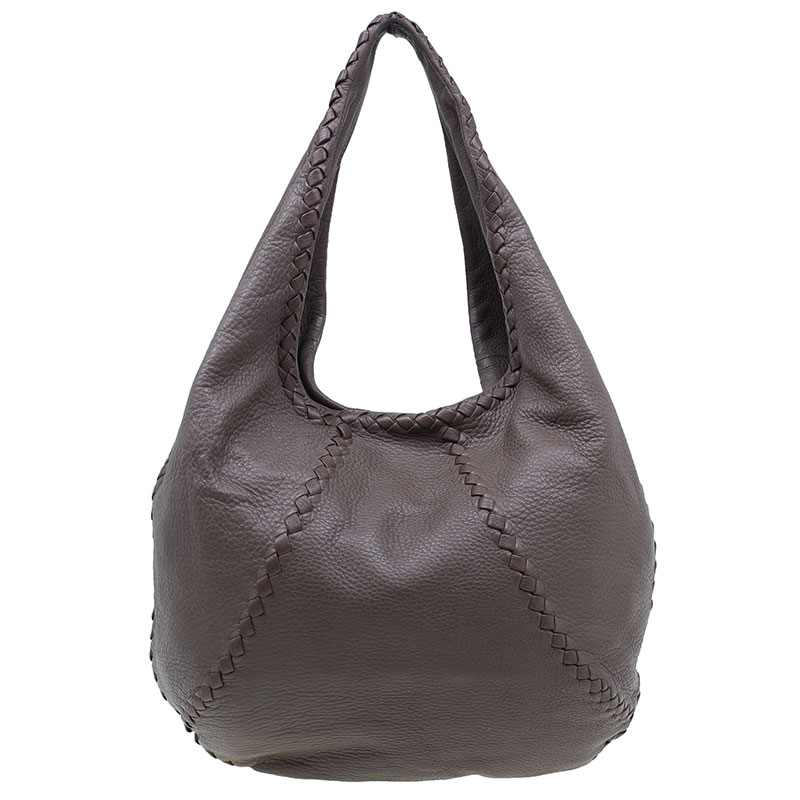 Bottega Veneta Brown Leather Large Cervo Hobo