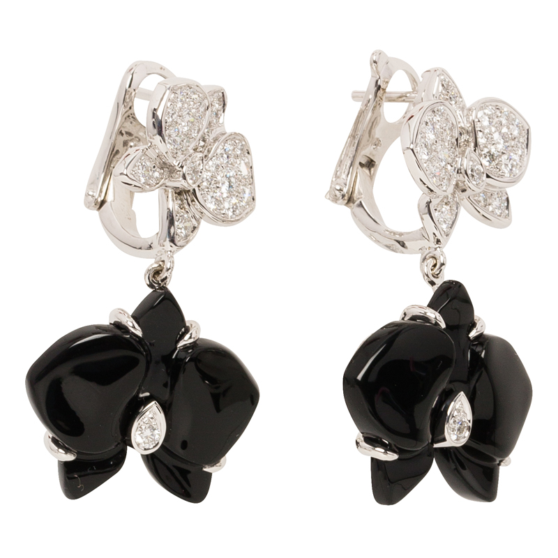 Cartier Caresse D'orchidees Par Cartier Diamonds, Onyx and White Gold Dangle Earrings
