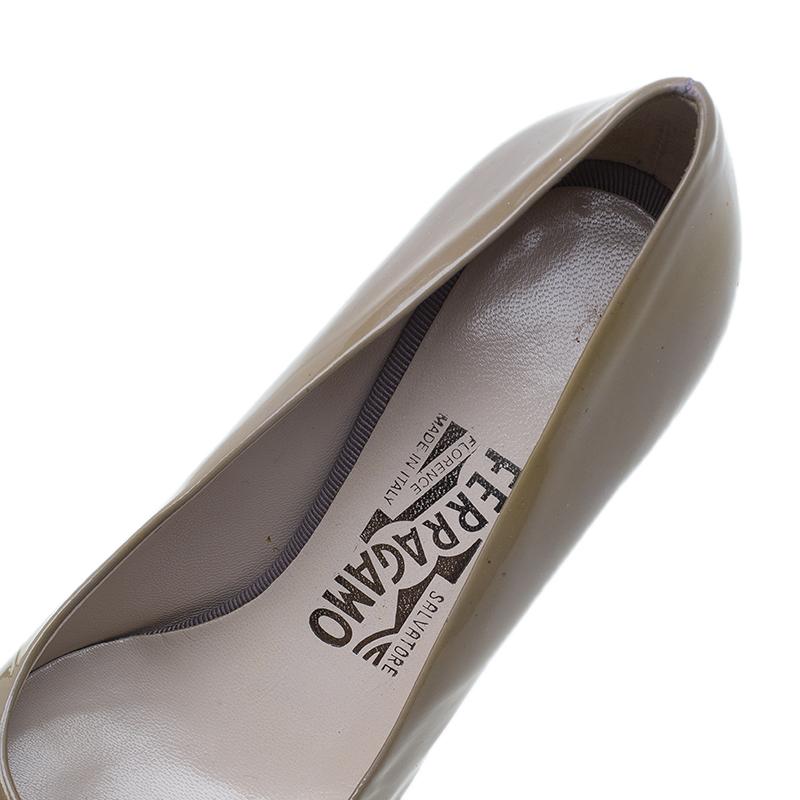 Salvatore Ferragamo Grey Patent Leather Carla Pumps Size 36.5