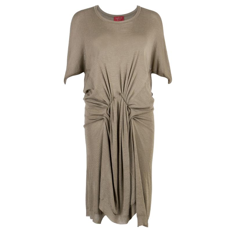 Lanvin Khaki Gathered Short Dress XS