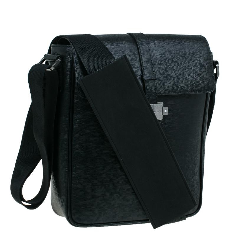 Montblanc Black Leather Westhide North South Messenger Bag