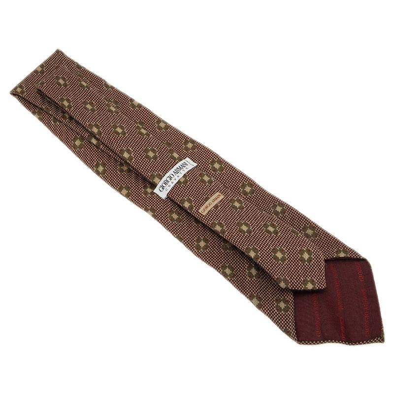 Giorgio Armani Brown Floral Silk Tie