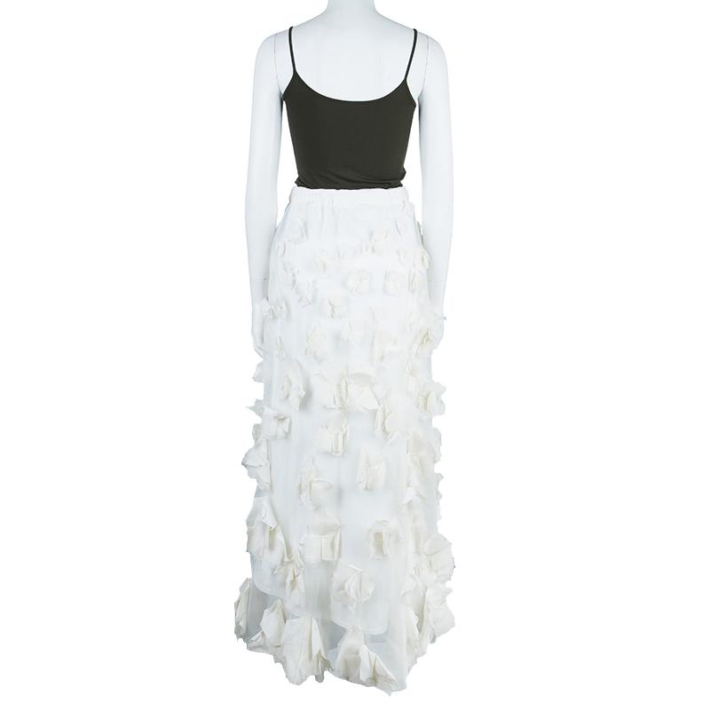 Tadashi Shoji White Organza Detail Skirt L