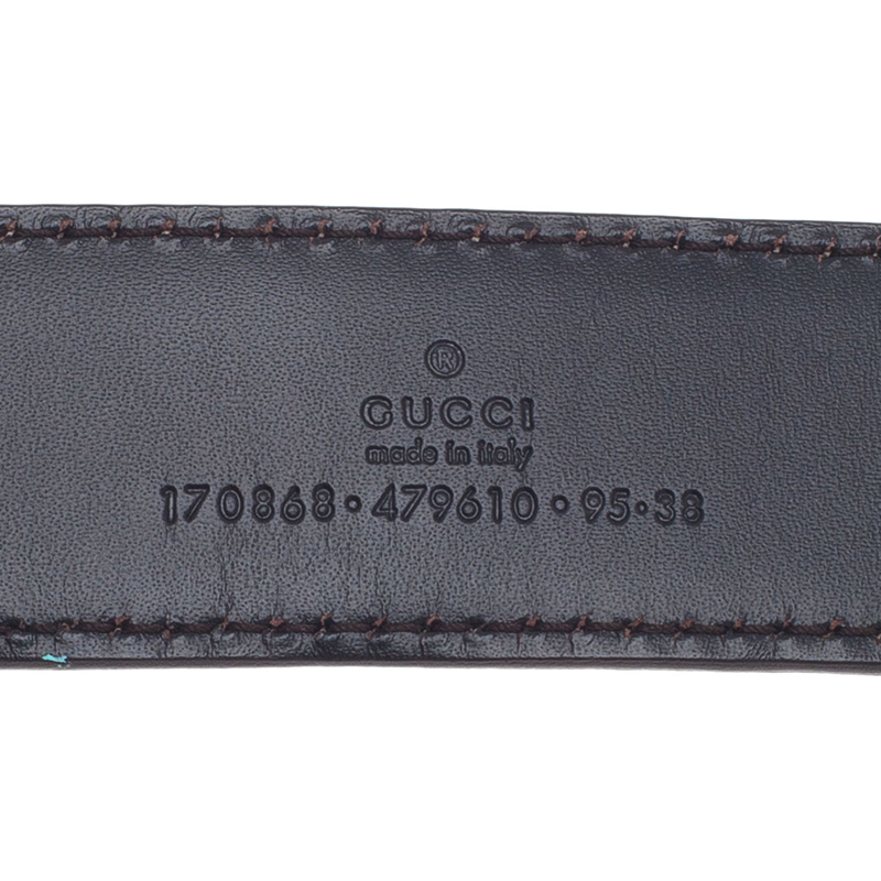 Gucci Brown Leather Chain Buckle Belt 95CM