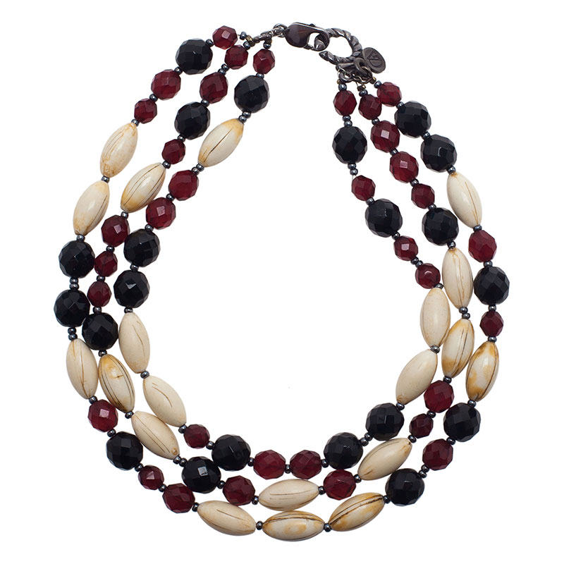 Giorgio Armani 3 Strand Beaded Choker Necklace