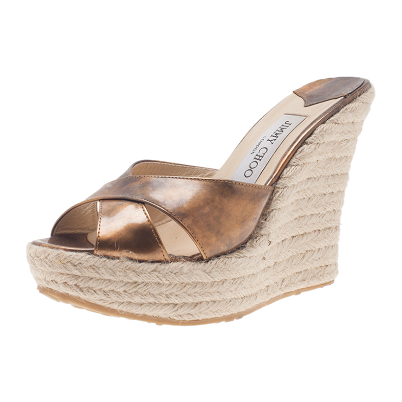 Jimmy Choo Metallic Gold Leather and Espadrille Perfume Wedge Slides Size 38