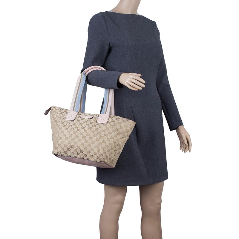 Gucci Beige GG Canvas Tote Bag