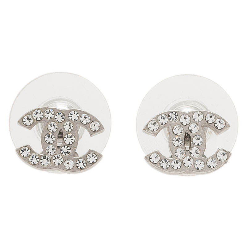 Chanel CC Crystal Mini Stud Earrings
