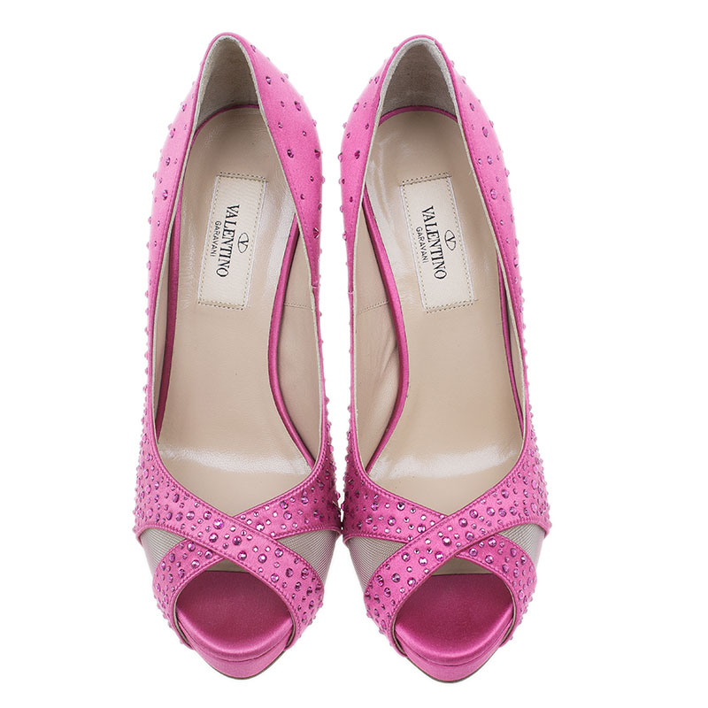 Valentino Pink Crystal Satin Criss Cross Platform Pumps Size 36