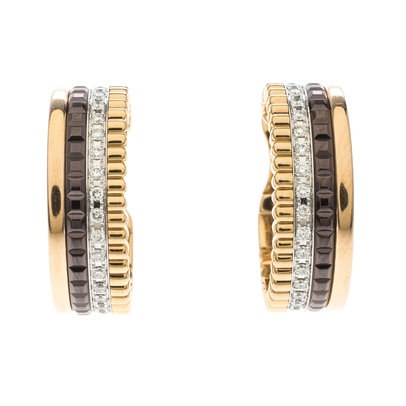 Купить со скидкой Boucheron Quatre Classique Diamond PVD 18k Three Tone Gold Hoops Earrings