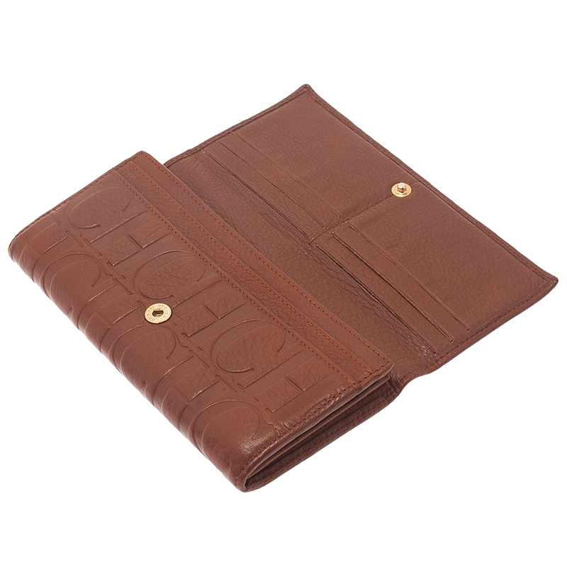 Carolina Herrera Brown Monogram Leather Continental Wallet