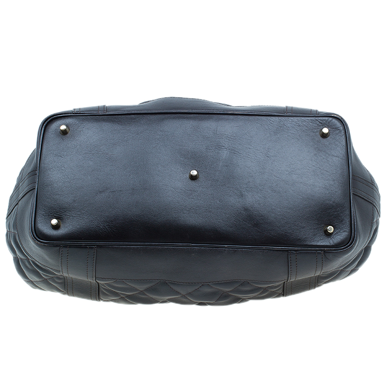 Burberry Black Leather Beaton Satchel Bag
