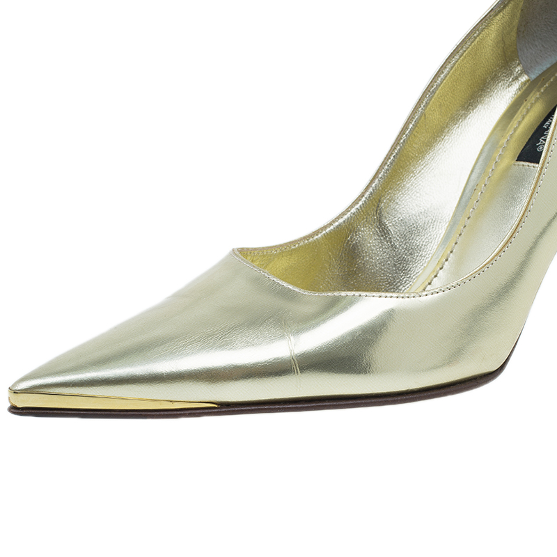 Dolce and Gabbana Gold Pointed Pumps Size 37
