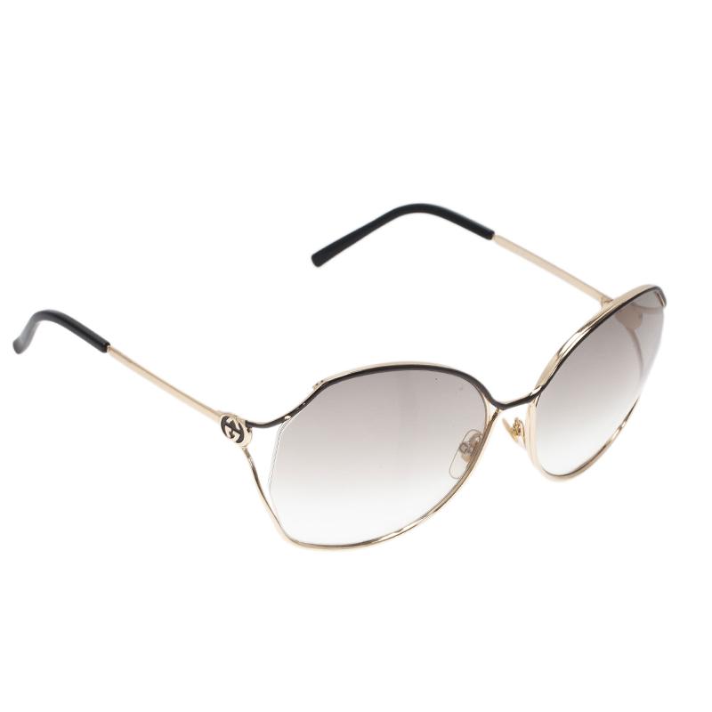 Gucci Gold and Black GG Oversized Square Sunglasses