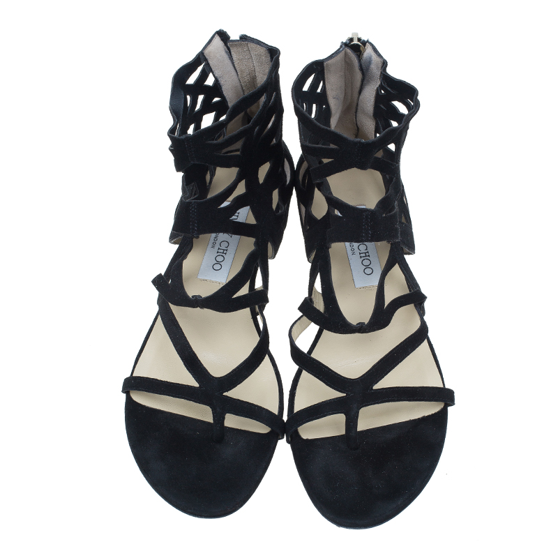 Jimmy Choo Black Suede Vernie Laser Cut Gladiator Sandals Size 38.5