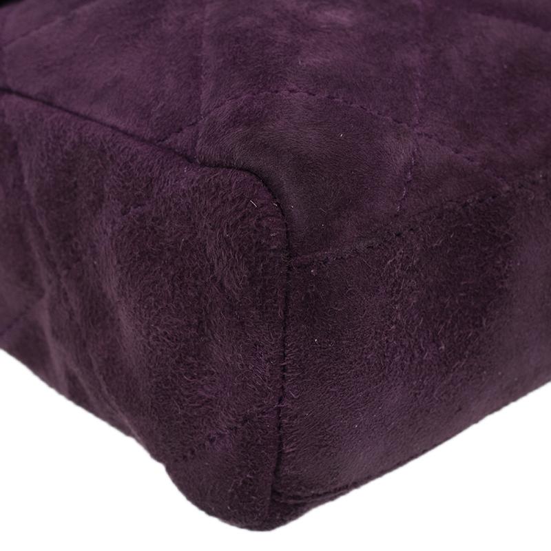 Prada Purple Quilted Suede Vintage Shoulder Bag