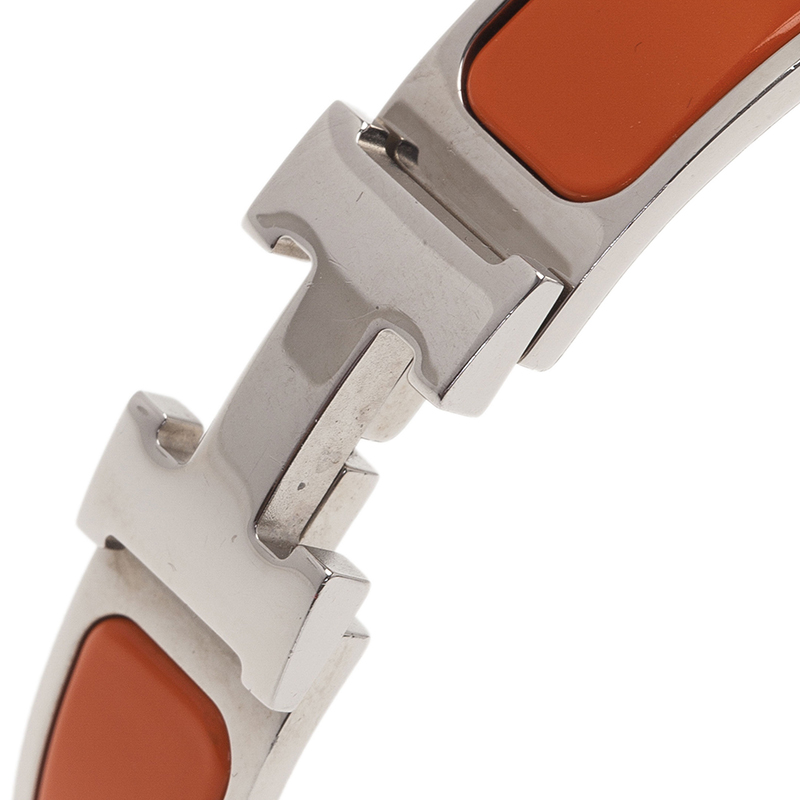 Hermes Clic Clac H Orange Enamel Palladium-Plated Bracelet GM