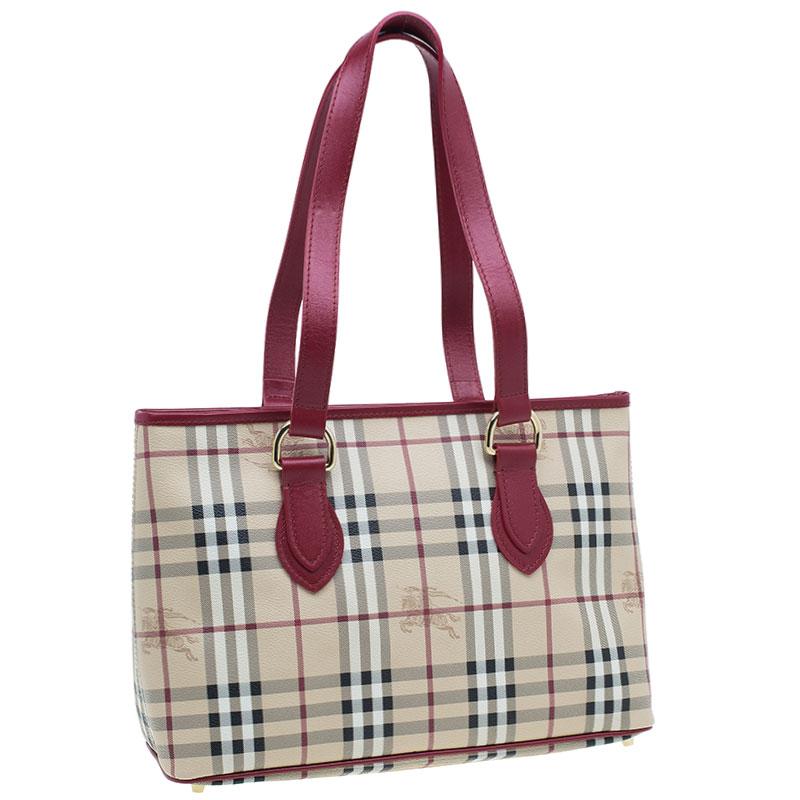Burberry Red Haymarket Check Medium Regent Tote Bag