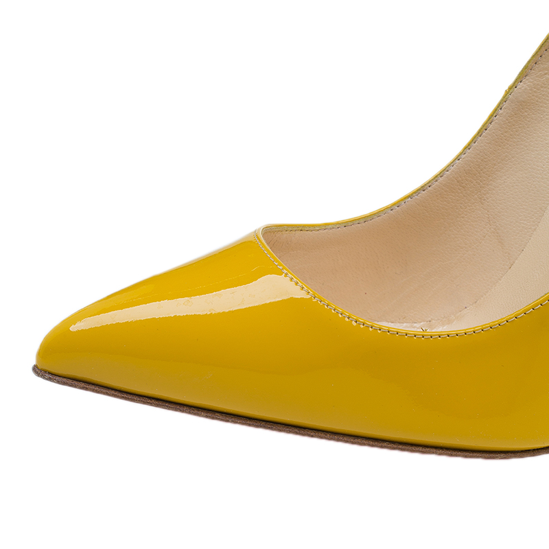 Christian Louboutin Yellow Patent Pigalle Pumps Size 39.5