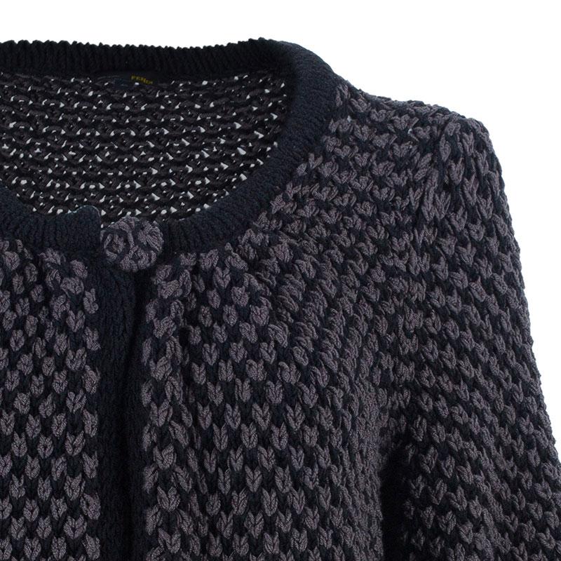 Fendi Wool Knit Long Button Down Cardigan M