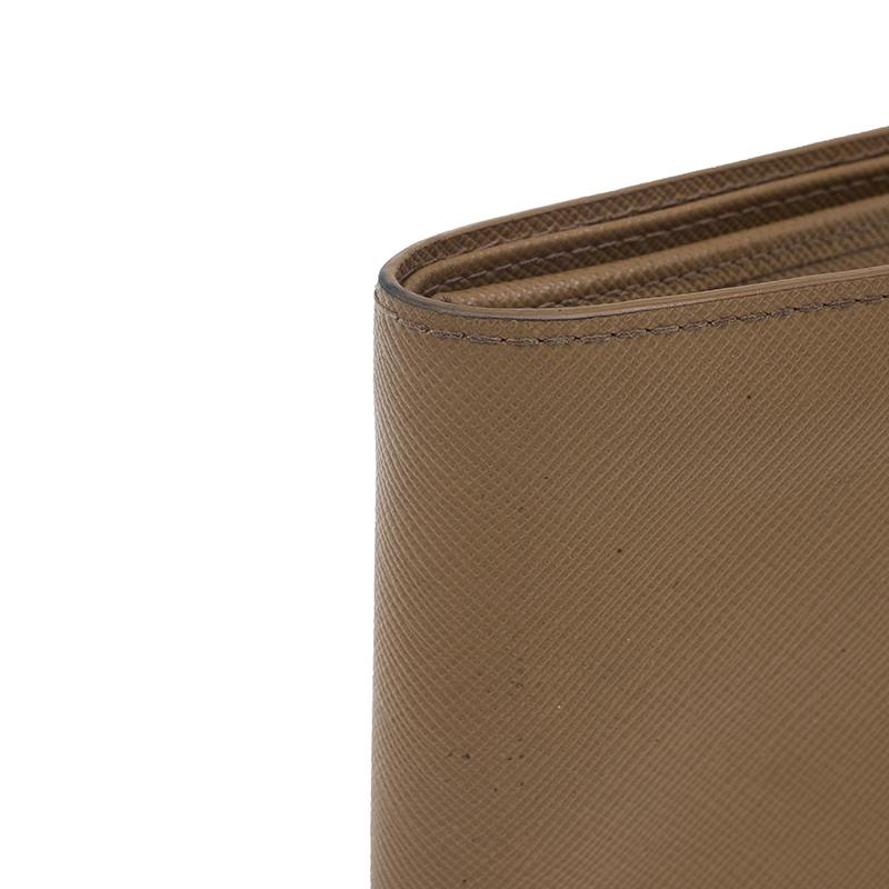 Prada Camel American Saffiano Bi-Fold Corner Wallet