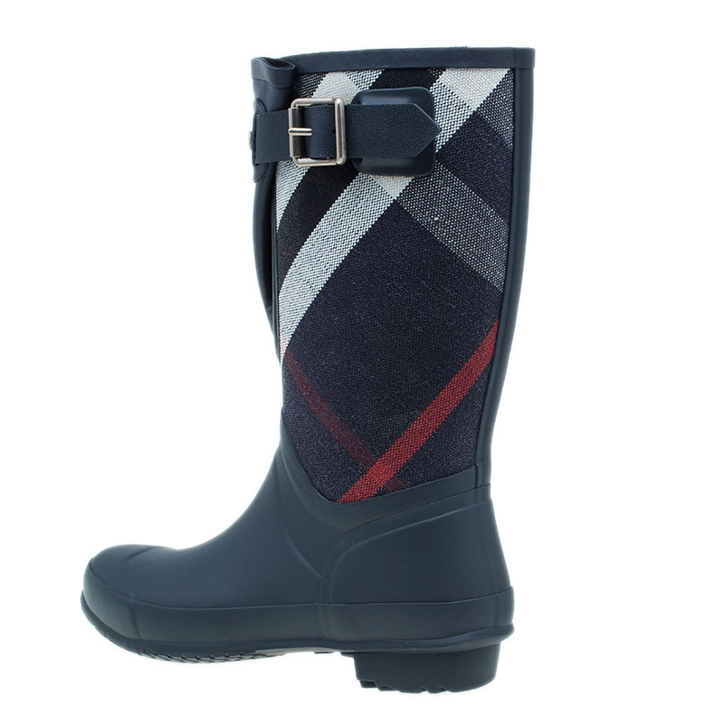 Burberry Canvas Check Rain Boots Size 38