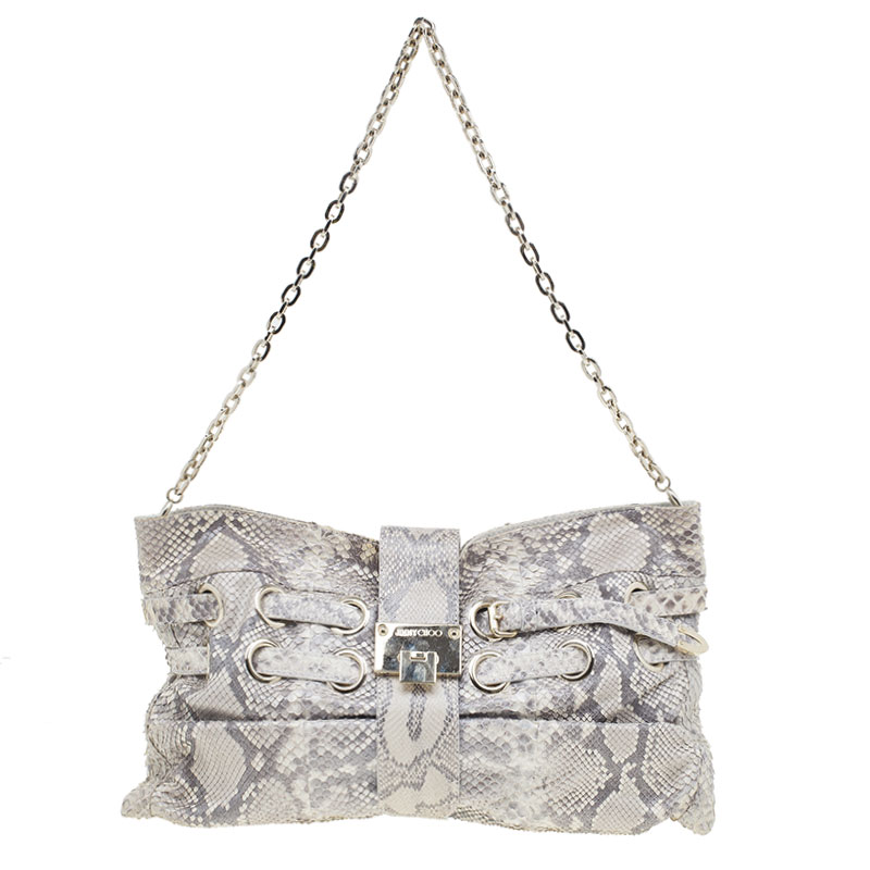 Jimmy Choo Grey Python Riki Shoulder Bag