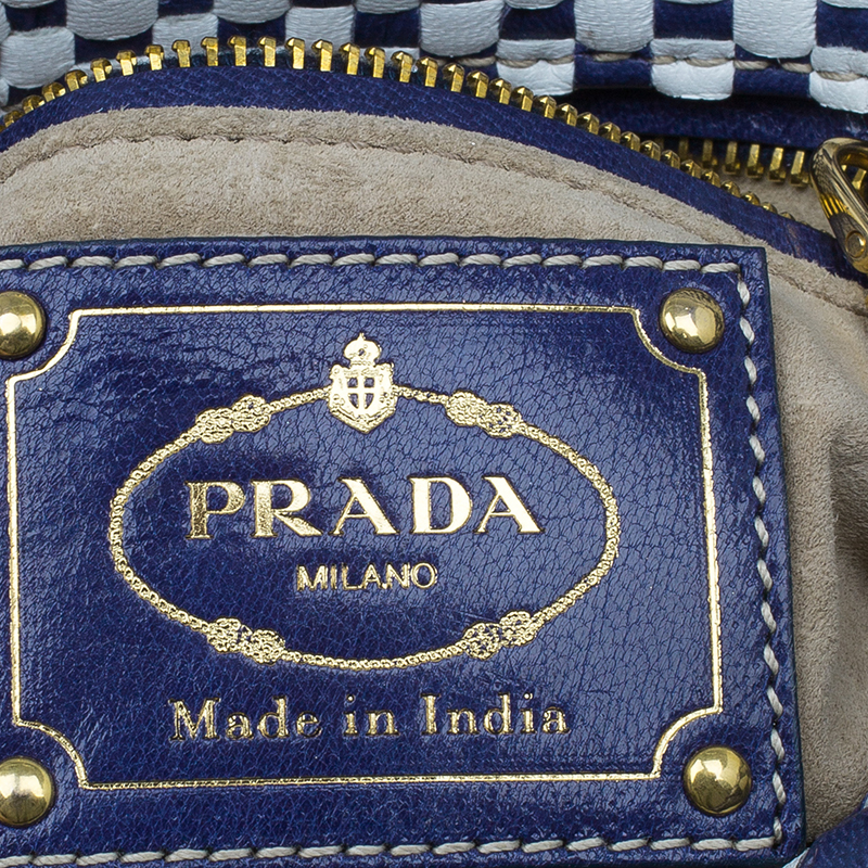 Prada White/Blue Leather Madras Crossbody Bag