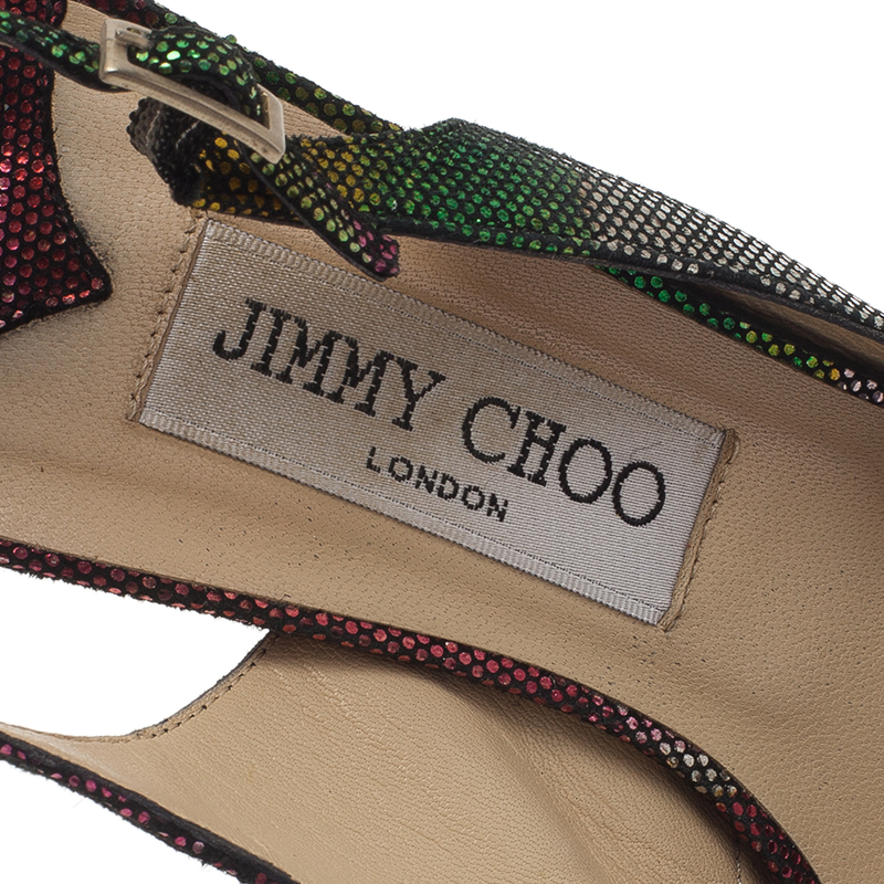 Jimmy Choo Multicolor Glitter Marion Slingback Sandals Size 38