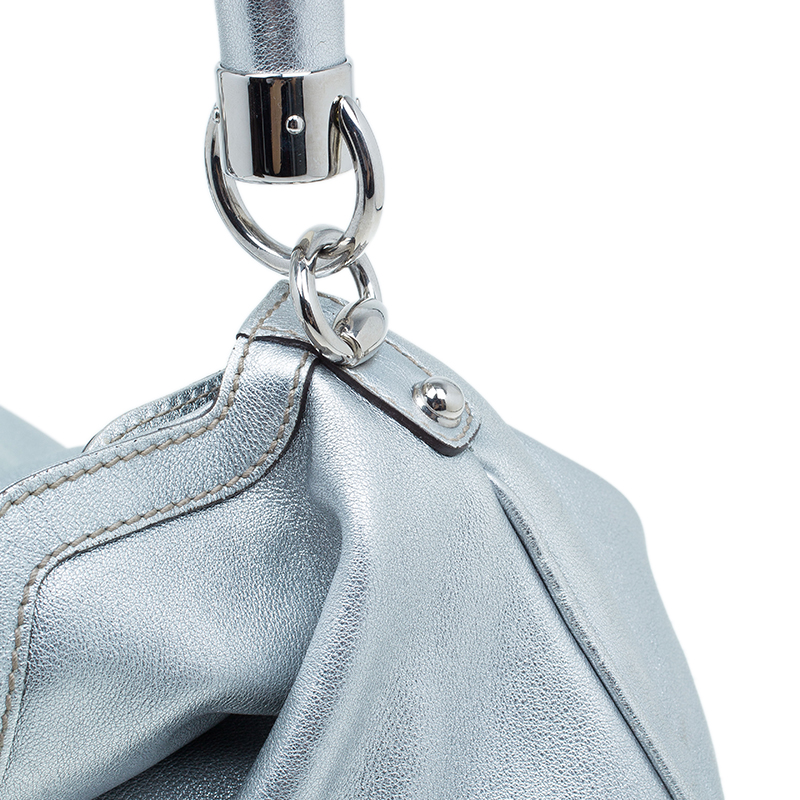Gucci Silver Leather Indy Top Handle Hobo Bag