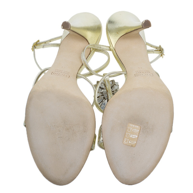 Giuseppe Zanotti Gold Embellished Leather T Strap Sandals Size 41