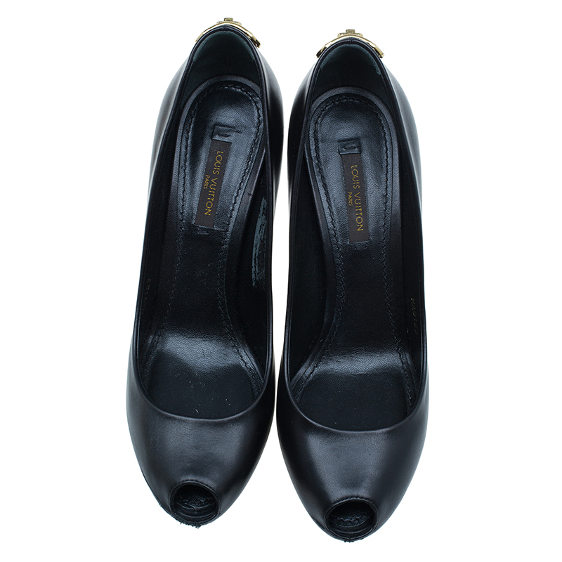 Louis Vuitton Black Leather Oh Really! Peep Toe Pump Size 36