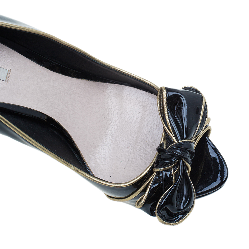 Miu Miu Black Patent Bow Detail Peep Toe Pumps Size 39