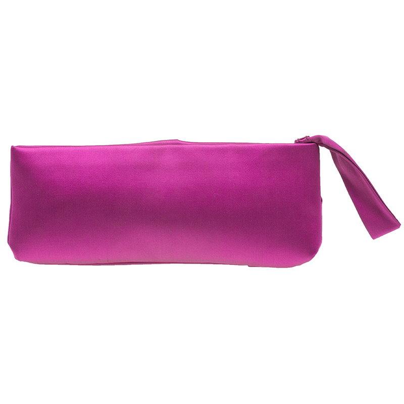 Valentino Pink Satin Bow Evening clutch