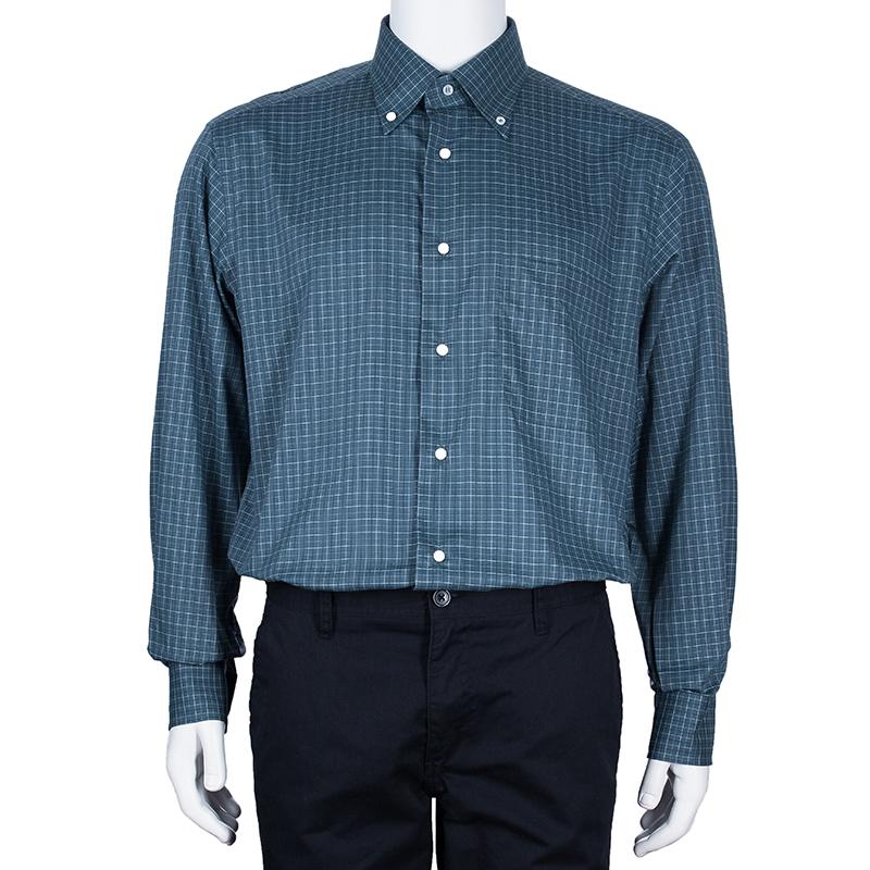 Brioni Men's Blue Checked Shirt L