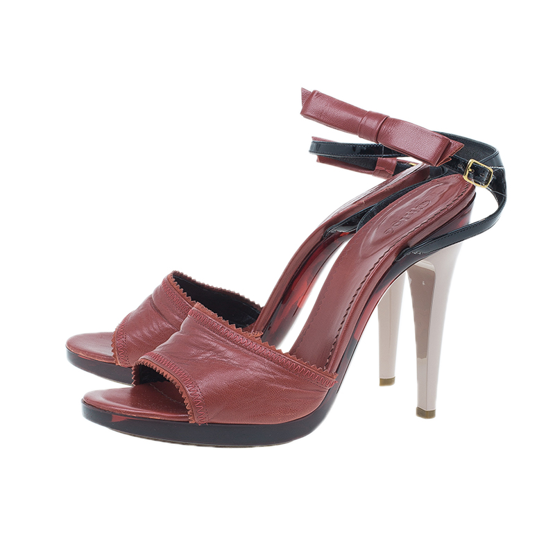 Chloe Red Leather Bow Detail Ankle Strap Sandals Size 40