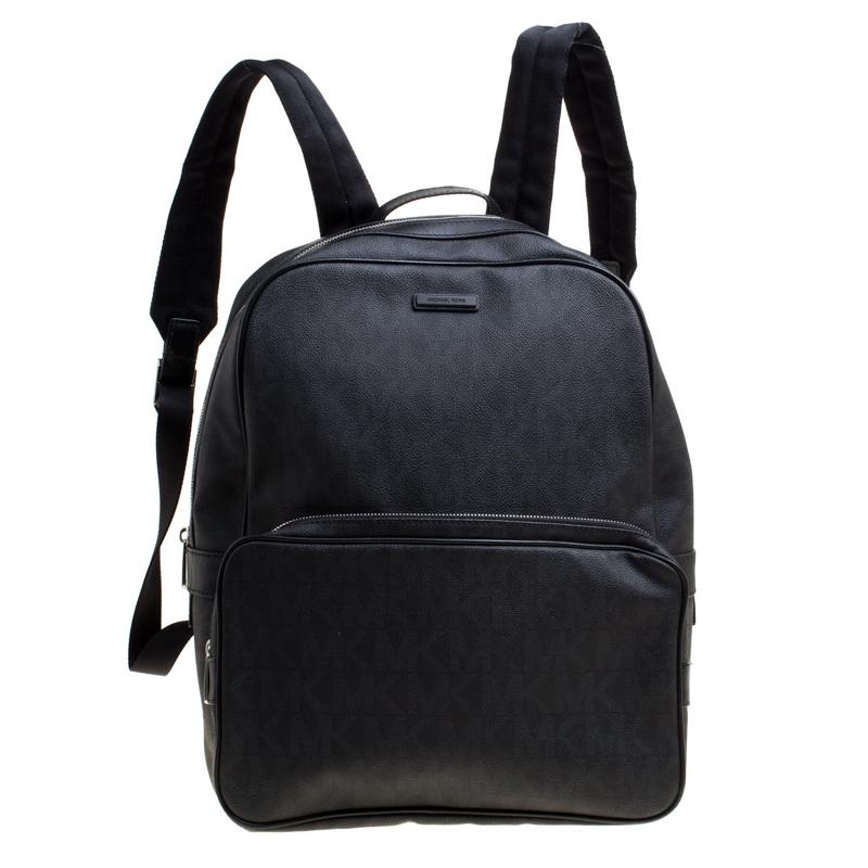 Купить со скидкой Michael Kors Black Coated Canvas Large Jet Backpack